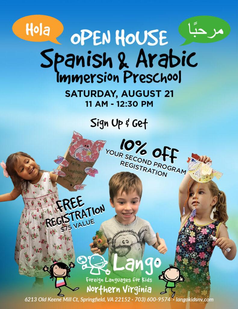Spanish and Arabic Preschool Open House at Lango Kids Northern Virginia on Saturday, August 21